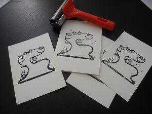 Linocut Emojito - produzione di stampe