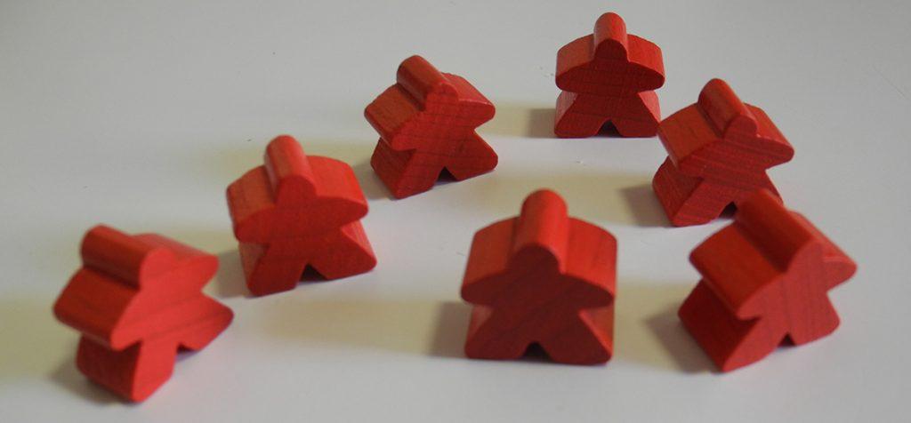 Carcassonne - le pedine del giocatore che ha scelto il rosso