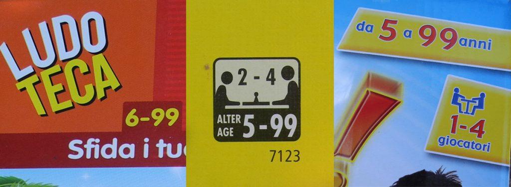 L'età nei giochi - esempi di scatole con l'età consigliata da un certo numero a 99 anni