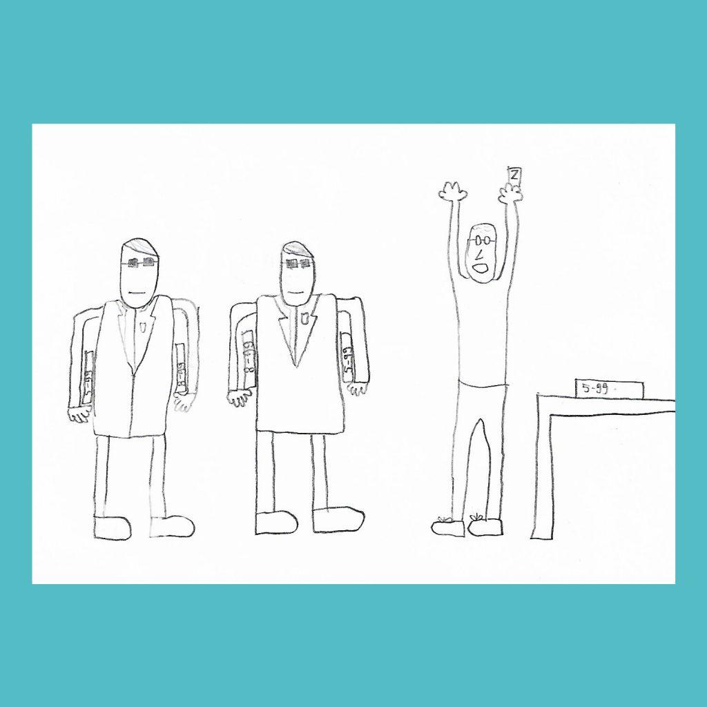 L'età nei giochi - disegno di Davide di ufficiali giudiziari che sequestrano i giochi a un novantanovenne